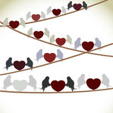 Heart with wings. Vector illustration of hearts with wings that sit on wires Stock Photos