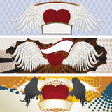 Heart with wings. Vector illustration of three beautiful background with hearts and wings Stock Image