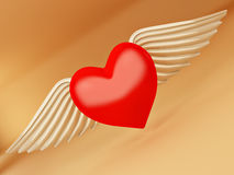 Heart and wings on yellow background. 3d Stock Image
