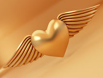 Heart and wings on yellow background. 3d Royalty Free Stock Photo