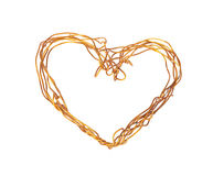 The heart of the wire. The decoration on the Valentine's Day. Stock Photos