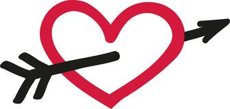 Free Heart With Arrow - Sketch Style Stock Image - 107169171