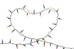 Free Heart With Christmas Lights On White Background Stock Image - 105639071