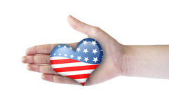Heart With USA Flag In Woman Hand Stock Photography