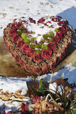 Heart of withered red roses Stock Images