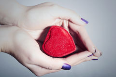 Heart in Woman Hands. Red Love Symbol. Sign of Valentines Day. Beautiful Abstract stock photography