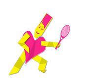 Heart woman playing tennis Royalty Free Stock Image