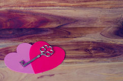 Heart on the wood background Stock Photos