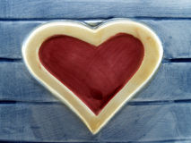 Heart on wood Made of glazed tile Royalty Free Stock Photography