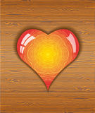 Heart on wood texture. Stock Photos