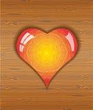 Heart on wood texture. Stock Photos