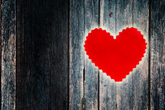 Heart on wood wall Stock Images