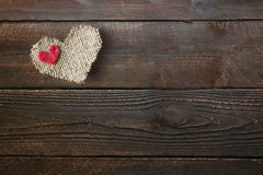 Heart on a Wooden Background With Copy Space Stock Photo