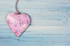 Heart on a wooden background. Heart on a blue wooden background royalty free stock image