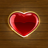 Heart on wooden background. Wooden background with red shiny heart, illustration Stock Image