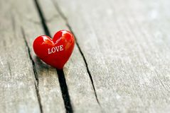 Heart on wooden background, valentine's  day decoration. Royalty Free Stock Photo