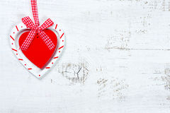Heart on wooden backgroung - valentine day texture Stock Photography
