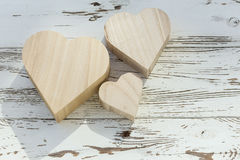 Heart wooden box on white wood Stock Images