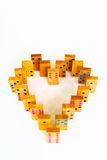Heart wooden dominos isolated Stock Image