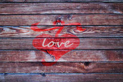 Heart on the wooden fence love backgroun valentine day Royalty Free Stock Photos