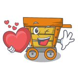 With heart wooden trolley mascot cartoon. Vector illustration vector illustration