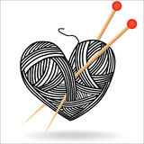 Heart wool knitting needle isolates hobby handcraft logo.  Stock Photo