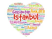 Heart with List of cities in Turkey vector illustration