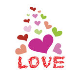 Heart and word love hand drawn doodle vector Royalty Free Stock Photos