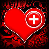 Heart work medical recovery. Medical cross implanted in red heart over abstract metal background Royalty Free Stock Photography