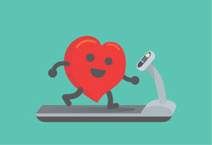 Heart workout with running on treadmill. This illustration about running make healthy heart Royalty Free Stock Images