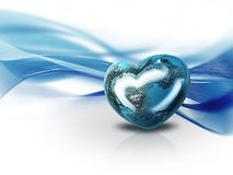 Heart of the world. Planet in the form of heart on the background of waves Stock Photography