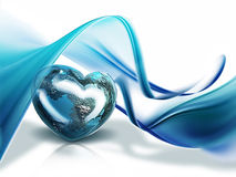 Heart of the World. Planet in the form of heart on the background of waves Stock Photo