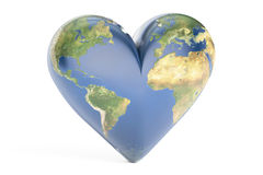 Heart world globe concept, 3D rendering Royalty Free Stock Images