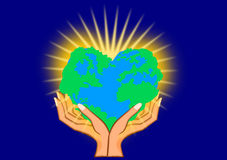 Heart world in hand Royalty Free Stock Image