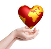 Heart world in hands Royalty Free Stock Images