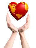 Heart world in hands Stock Photography