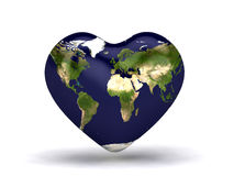 Heart world map Royalty Free Stock Photo