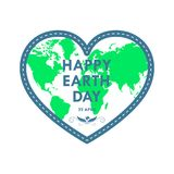Heart for Earth Day. Vector illustration. Heart with world map for 22 april, in flat design. Vector illustration. Happy Earth Day, ecology concept Royalty Free Stock Photos