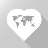 Heart world map. Heart icon white color with dot world map inside vector illustration isolated on gray background Royalty Free Stock Image
