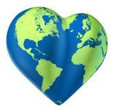 Heart world map of love Valentine planet. Heart world map of green love Valentine planet vector illustration