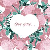 Heart woven of branch. Frame of pink peony flowers and leaves on white background. stock illustration