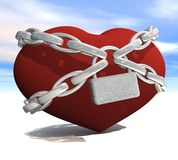 Heart wrapped with chains Royalty Free Stock Photo