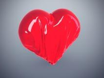 Heart Wrinkle. Deflated wrinkled heart; Broken heart; Depleting love Stock Image