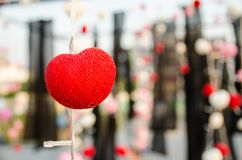 Heart yarn lamp hang on wire Royalty Free Stock Image