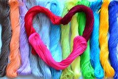 Heart of yarn. Stock Photography