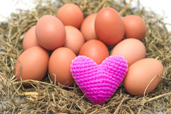 Heart Yarns on eggs in the nest. Stock Images