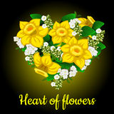 Heart from yellow daffodil, stylish bouquet Stock Photos