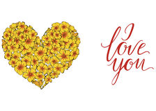 Heart of yellow phlox flowers  on white background and lettering I LOVE YOU. Vector illustration. Heart of yellow phlox flowers  on white background. Vector Stock Photos