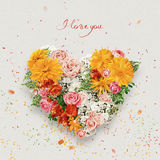 Heart of yellow and pink flowers on st valentines day Stock Photography