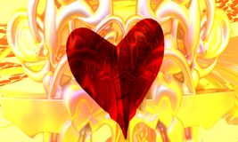 Heart in yellow. A red transparent heart, with a yellow background, with abstract rounded decorative shapes, colored in white reflecting pink and yellow colors vector illustration